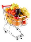 Ainda vida de fruta no carrinho isolado no branco — Foto Stock