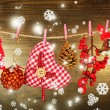 Christmas decorations on wooden background — Stock Photo #36573209
