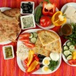 Traditional Turkish breakfast on fabric background — Stock Photo #36573355