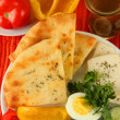 Traditional Turkish breakfast on fabric background — Stock Photo #36573379