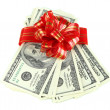 Dollar bills with red bow isolated on white — Stock Photo #36575919