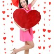 Stock Photo: Attractive young womwith heart on Valentine Day