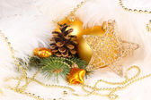 Christmas decoration in white fur — Stock Photo