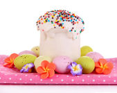 Easter cake with sugar glaze and eggs isolated on white — Stock Photo