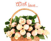 Beautiful bouquet of roses in basket, isolated on white — ストック写真