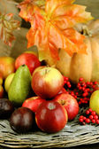 Outono composição de frutas e abóboras em close-up tabela — Fotografia Stock