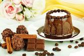 Yummy chocolate cake close-up — Stock Photo