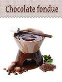 Chocolate fondue, isolated on white — Stock Photo