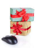 Gifts and computer mouse isolated on white — Foto de Stock