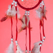 Beautiful dream catcher on red background — Stock Photo #36593489