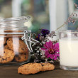 Stock Photo: Glass of milk with cookies on wooden table on windows background close-up