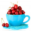 Ripe red cherry berries in cup isolated on white — Stock Photo
