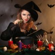 Halloween witch on dark background — Foto de stock #36597965