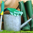 Gardening tools on grass on wooden background — 图库照片