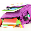 Purple backpack with school supplies isolated on white — Stock Photo #36598573