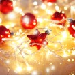 Christmas ornaments and garland close-up — Photo