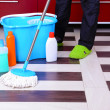 Stock Photo: House cleaning with mop