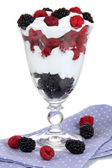 Natural yogurt with fresh berries isolated on white — Stock Photo