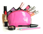 Beautiful make up bag with cosmetics , isolated on white — Stock Photo