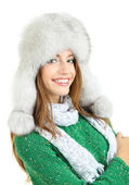 Beautiful smiling girl in hat isolated on white — Stock Photo