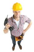 Retrato de joven constructor aislado en blanco — Foto de Stock
