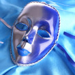 Stock Photo: Mask on blue fabric background