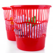 Two red garbage bins, isolated on white — Stockfoto #36601351