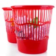 Two red garbage bins, isolated on white — Stock Photo #36601351
