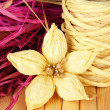 Decorative straw for hand made and flower of straw, on wooden background — Foto Stock