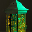 Decorative glowing lantern at night — Zdjęcie stockowe