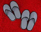 Striped slippers on carpet background — Foto de Stock