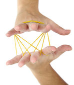 Elastic bands on hands, isolated on white — Stock Photo