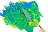 Espátula de pintura con pintura aislado en blanco — Foto de Stock