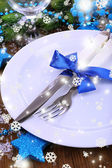 Decorated Christmas table setting — Stok fotoğraf