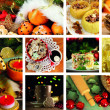 Stock Photo: Christmas collage with tasty food, drinks and decorations