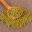 Stock Photo: Mung beans over wooden spoon on color background
