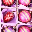 图库照片: Beautiful packaged Christmas toys, close up