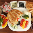 Traditional Turkish breakfast on table close up — Stock Photo
