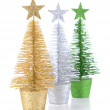 Decorative Christmas trees isolated on white — Stock Photo