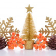 Composition of Christmas decorations isolated on white — Zdjęcie stockowe