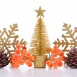 Composition of Christmas decorations isolated on white — Lizenzfreies Foto