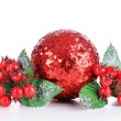 Composition of Christmas decorations isolated on white — ストック写真