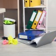 Garbage bin, on office background — Stock Photo