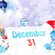 Calendar with New Year decorations on winter background — Foto de Stock