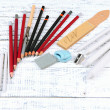 Professional art materials, on wooden table — Foto Stock