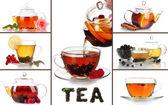 Tasty tea collage — Stock Photo