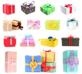 Colorful gift boxes isolated on white — Stockfoto