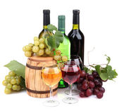 Barrel, bottles and glasses of wine, grapes, isolated on white — Stock Photo