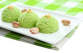Delicious ice cream on plate close-up — Stock Photo