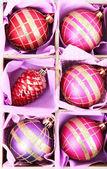 Hermosos juguetes de navidad envasados, cerrar — Foto de Stock